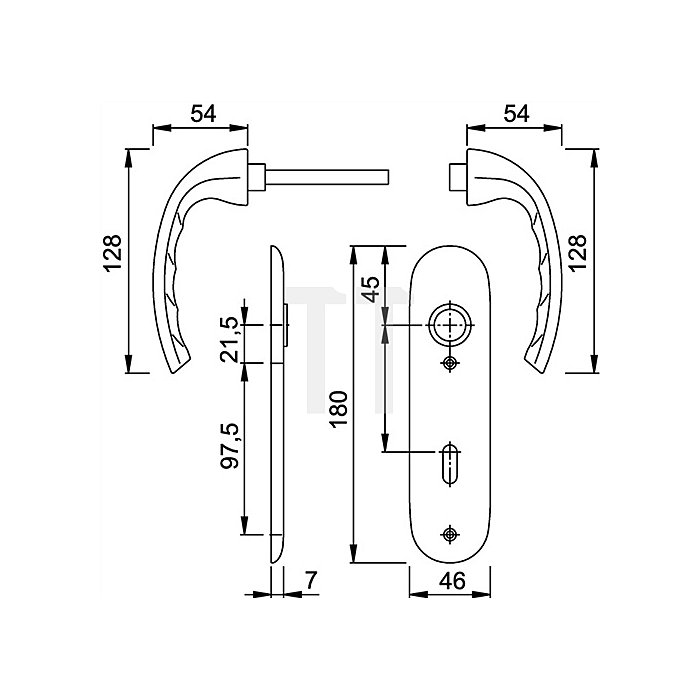 Hoppe Kurzschild-Drückergrt. Tokyo 1710/273KP DIN EN 1906 OB VK 8mm Entf. 72mm Alu F1