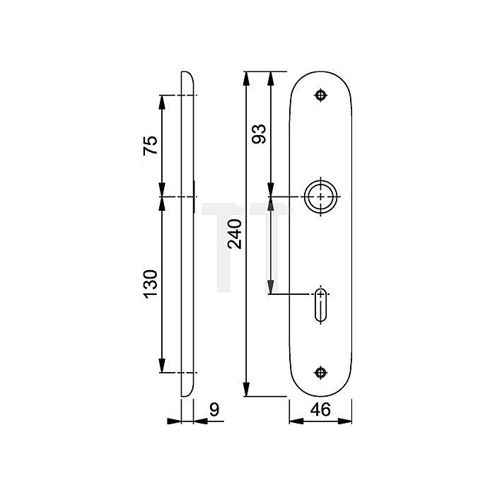 Hoppe Langschild 273P PZ Entf. 72mm Alu F2 neusilber mit Rückholfeder