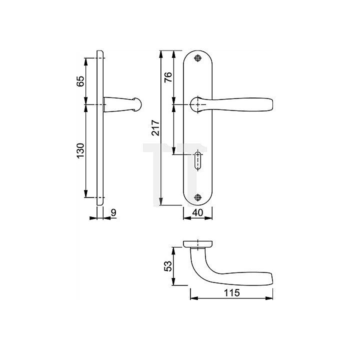 Hoppe Langschild-Dr.grt. Maribor 1766/3022P SK/OL VK 8mm Entf. 78mm Alu. F271