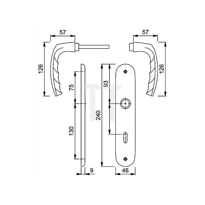 Hoppe Langschild-Drückergrt. Atlanta 1530/273P DIN EN 1906 OB VK 8mm Entf. 72mm Alu F1