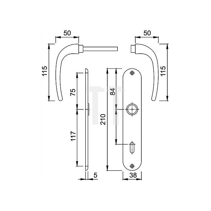 Hoppe Langschild-Drückergrt. Cervina M191/322 Bad SK/OL VK 8mm Entf. 78mm Messing F49