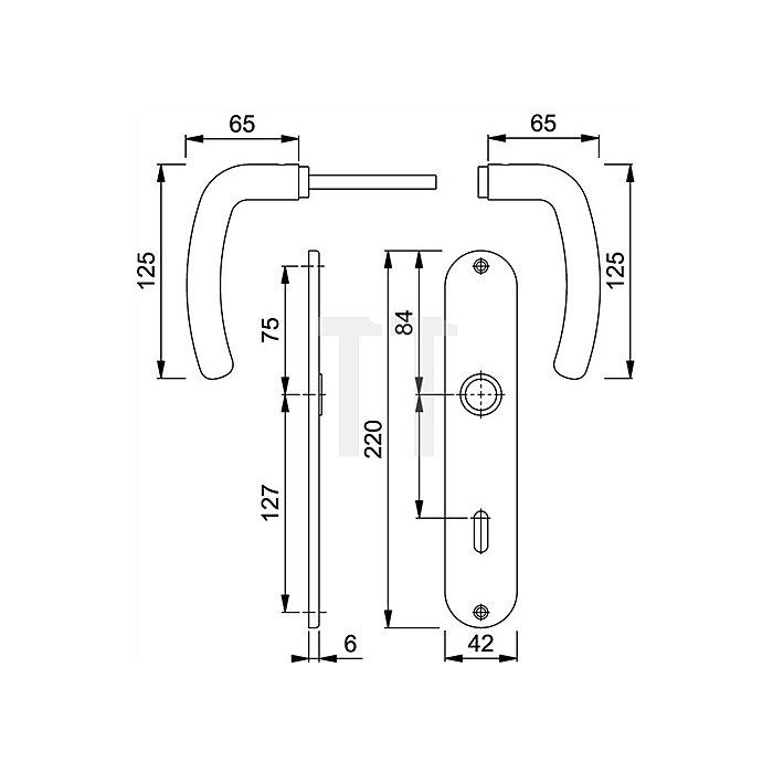 Hoppe Langschild-Drückergrt. Denver E1310Z/302 DIN EN 1906 OB VK 8mm Entf. 72mm VA F69