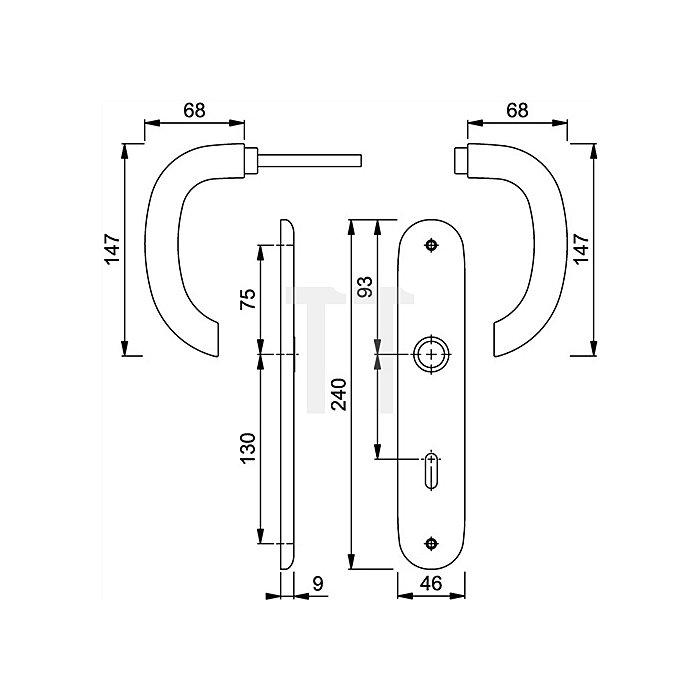 Hoppe Langschild-Drückergrt. Marseille E118Z/302 DIN EN 1906 PZ VK 8mm Entf. 72mm