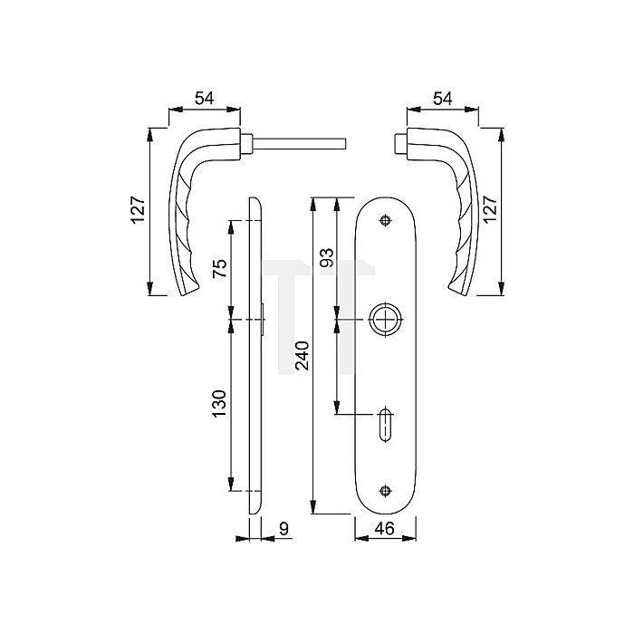Hoppe Langschild-Drückergrt. New York 1810/273P Lochung SK/OL Entf. 78mm Alu F9 Stahl
