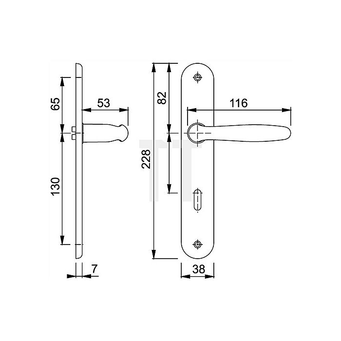Hoppe Langschild-Drückergrt. Roissy M1941/332P Bad SK/OL VK 8mm Entf. 78mm rechts F71