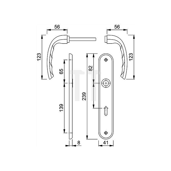 Hoppe Langschild-Drückergrt. Tokyo M1710RH/265 DIN EN 1906 OB VK 8mm Entf. 72mm Ms.