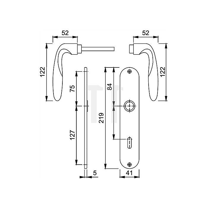 Hoppe Langschild-Drückergrt. Verona M151/302 DIN EN 1906 OB VK 8mm Entf. 72mm Ms. F71