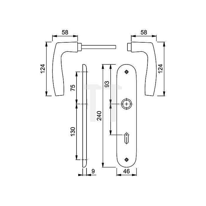 Hoppe Langschild-Drückergrt. Vitoria 1515/273P DIN EN 1906 OB VK 8mm Entf. 72mm Alu F1