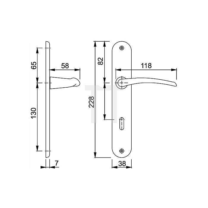 Hoppe Langschild-Drückergrt.Istanbul M171/332P Bad SK/OL VK 8mm Entf.78mm DIN li.Ms.