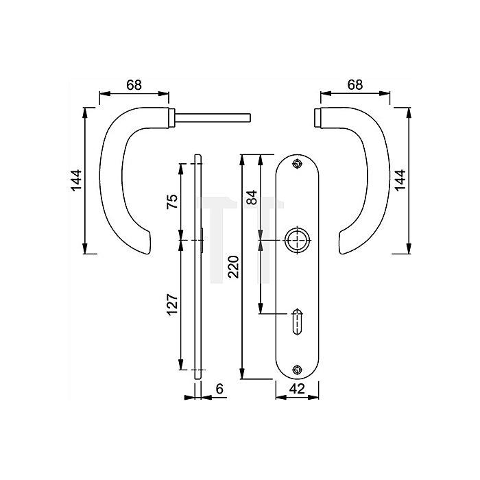Hoppe Langschild-Drückergrt.Marseille 1138/273P DIN EN 1906 PZ VK 8mm Entf.72mm Alu F1