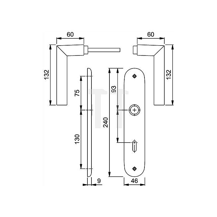 Hoppe Langschild-Drückergrt.Stockholm 1140/273P DIN EN 1906 PZ VK 8mm Entf.72mm Alu F1