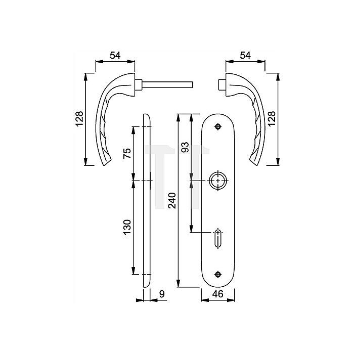 Hoppe Langschild-Drückergrt.Tokyo 1710/273P DIN EN 1906 SK/OL VK 8mm Entf.78mm Alu F1