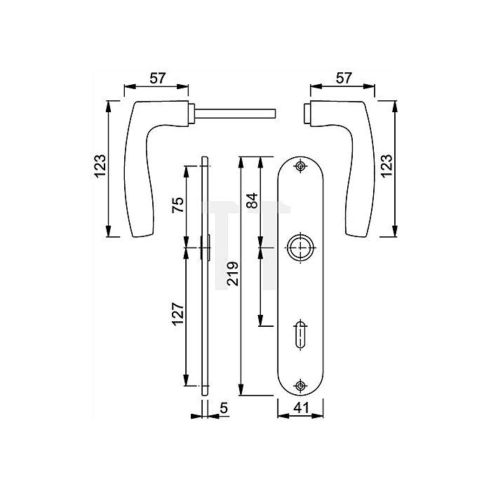Hoppe Langschild-Drückergrt.Vitoria M1515/302 DIN EN 1906 OB VK 8mm Entf.72mm Ms. F71