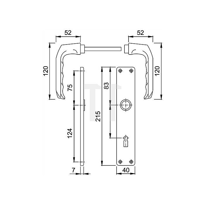 Hoppe Langschild-Wechselgrt. London 54/227/202SP/113 PZ VK 8mm Entf. 72mm Alu F1