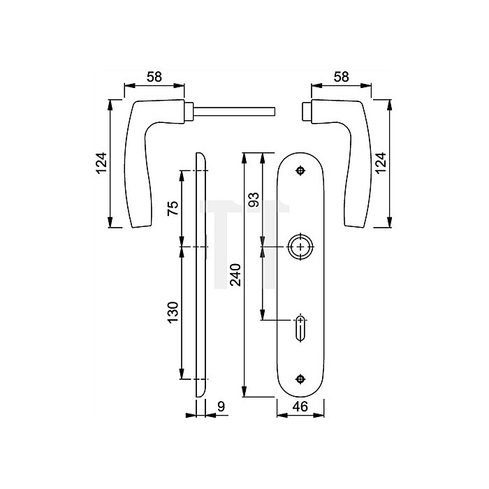 Hoppe Langschild-Wechselgrt. Vitoria 53/273P/1515 DIN EN 1906 PZ Entf. 72mm Alu F1 SST