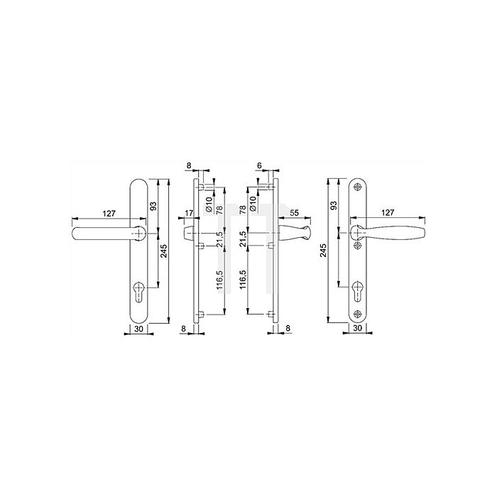 Hoppe Profiltür-Drückergrt. New York 099KH/3346/1810 Lochung PZ Entf. 92mm TS 67-72