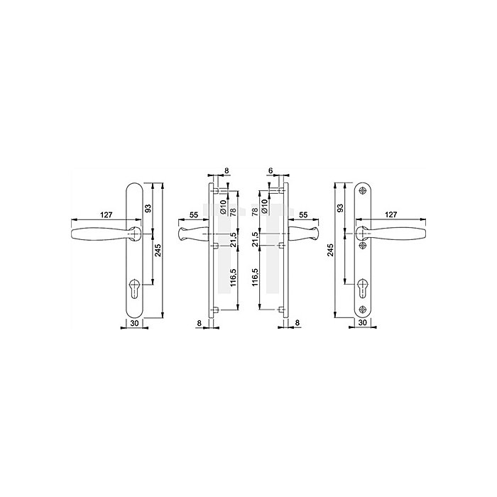 Hoppe Profiltür-Drückergrt. New York 1810/3346 Lochung PZ Entf. 92mm TS 67-72mm