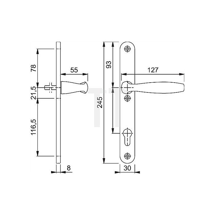 Hoppe Profiltür-Drückergrt. New York 1810/3346SN Lochung PZ Entf. 92mm F9016 40mm