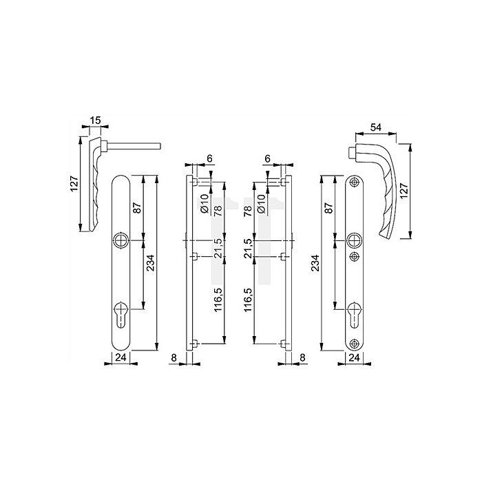 Hoppe Profiltür-Drückergrt.New York 099KH/303N/1810 Lochung PZ Entf.92mm TS 67-72mm