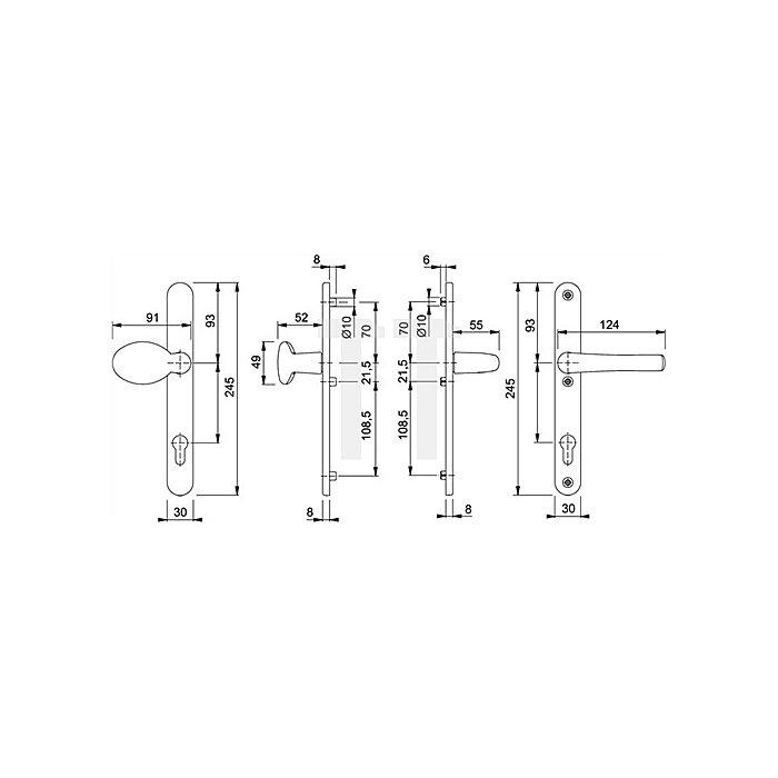 Hoppe Profiltür-Wechselgarnitur Tokyo 76G/3346/1710RH PZ Entf.92mm VK 8mm F99 weiß