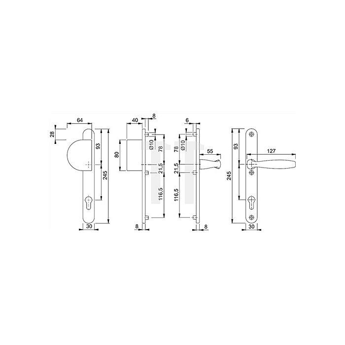 Hoppe Profiltür-Wechselgrt. New York 554/3346/1810 Entf. 92mm Alu F1 TS 57-62
