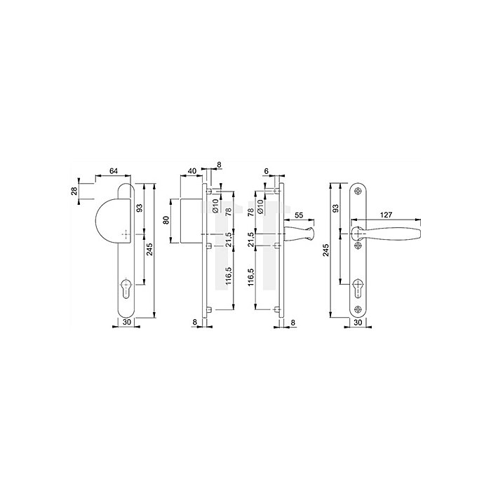 Hoppe Profiltür-Wechselgrt. New York 554/3346/1810 Entf. 92mm Alu F9 TS 57-62