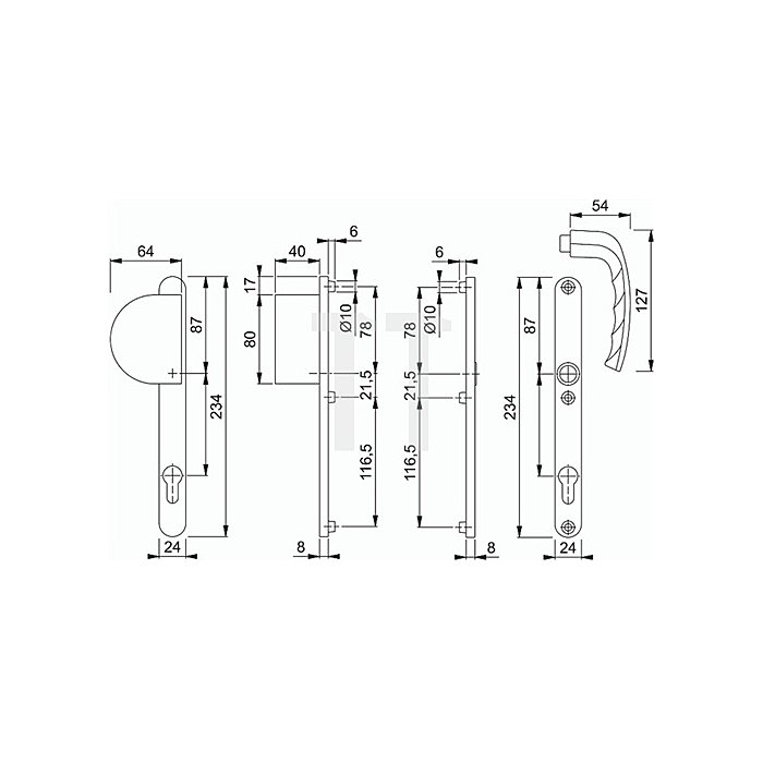 Hoppe Profiltür-Wechselgrt.New York 554/303N/1810 Lochung PZ Entf.92mm TS 57-62mm
