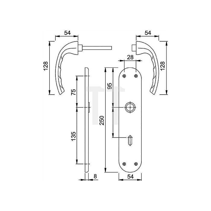 Hoppe Renovationsgarnitur Tokyo 1710/3334 PZ VK 8mm Entfernung 72mm Alu. F1 TS 35-40
