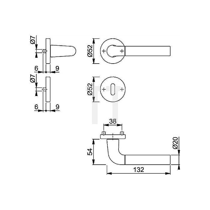 Hoppe Rosetten-Dr.grt. Bremen 1505/42KV/42KVS Kl. 3 PZ VK 8mm VA F69 SST TS 37-42mm