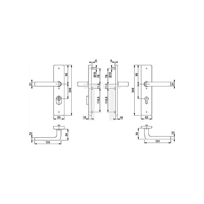 Hoppe Rosetten-Dr.grt. Dallas E1643Z/2222ZA/2210 PZ ZA Entf. 92mm VK 10mm TS 67-72mm