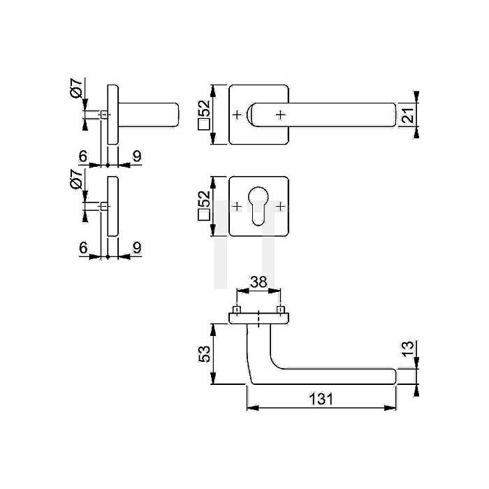 Hoppe Rosetten-Dr.grt. Dallas E1643Z/52KV/52KVS OB VK 8mm VA F69 SST TS 37-42mm