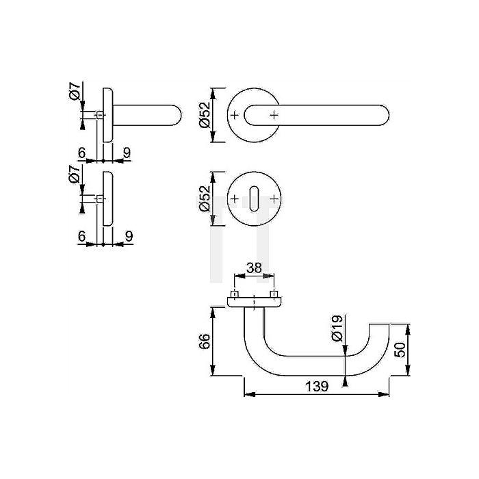 Hoppe Rosetten-Drückergarnitur Baden E1388Z/17KV/17KVS OB VK 8mm VA F69 TS 37-42mm