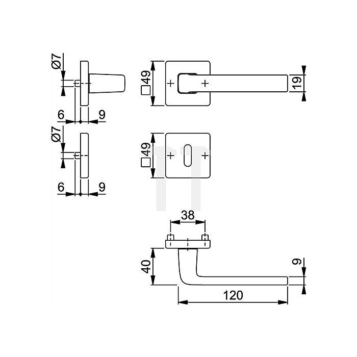 Hoppe Rosetten-Drückergarnitur Dublin 1124/843KV/843KVS PZ VK 8mm Alu. F249