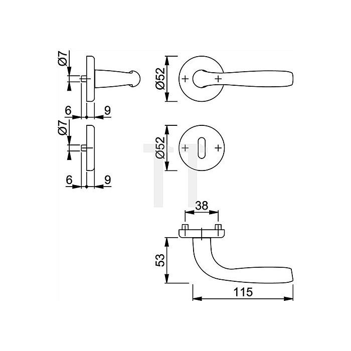Hoppe Rosetten-Drückergarnitur Maribor 1766/17KV/17KVS SK/OL VK 8mm Alu. F249