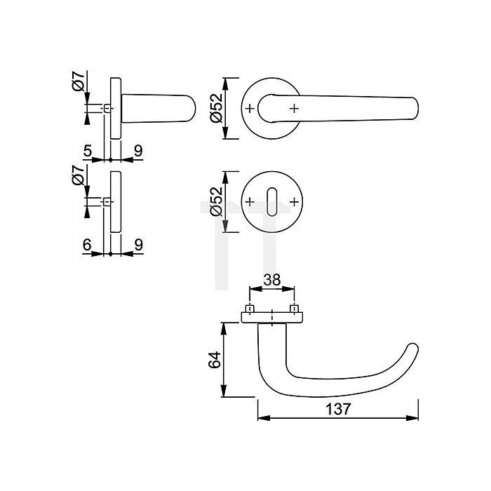 Hoppe Rosetten-Drückergarnitur San Francisco 1301/42KV/42KVS OB VK 8mm Alu. F1 natur