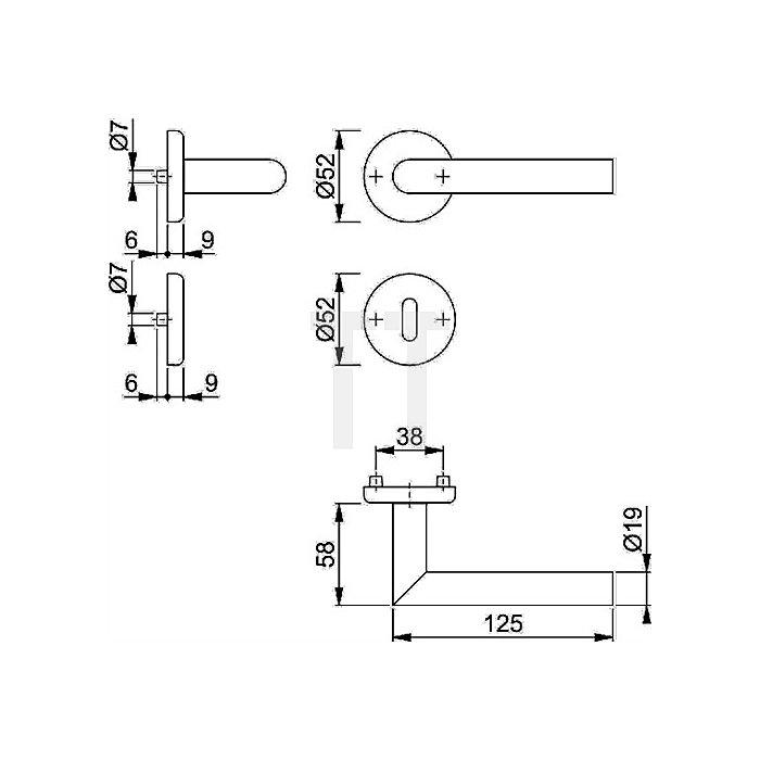 Hoppe Rosetten-Drückergarnitur Utrecht E1144Z/17KV/17KVS Bad. VK 8mm VA F69 TS 37-42mm
