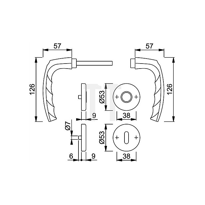 Hoppe Rosetten-Drückergrt. Atlanta 1530/42KV/42KVS DIN EN 1906 OB VK 8mm Alu F1 SST