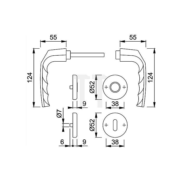 Hoppe Rosetten-Drückergrt. Birmingham 1117/17KV/17KV SK/OL VK 8,5mm F2 Alu.