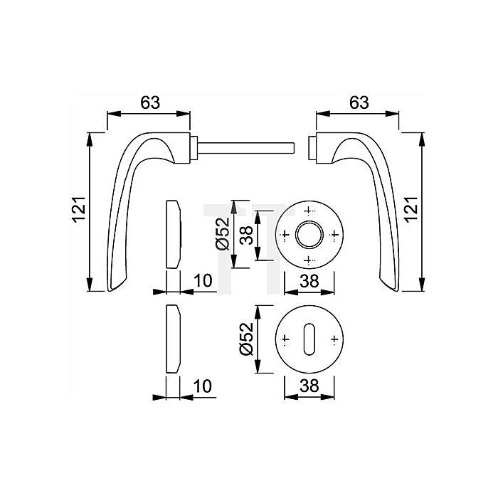 Hoppe Rosetten-Drückergrt. Cannes M1545/23KV/23KVS DIN EN 1906 PZ VK 8mm Messing F71