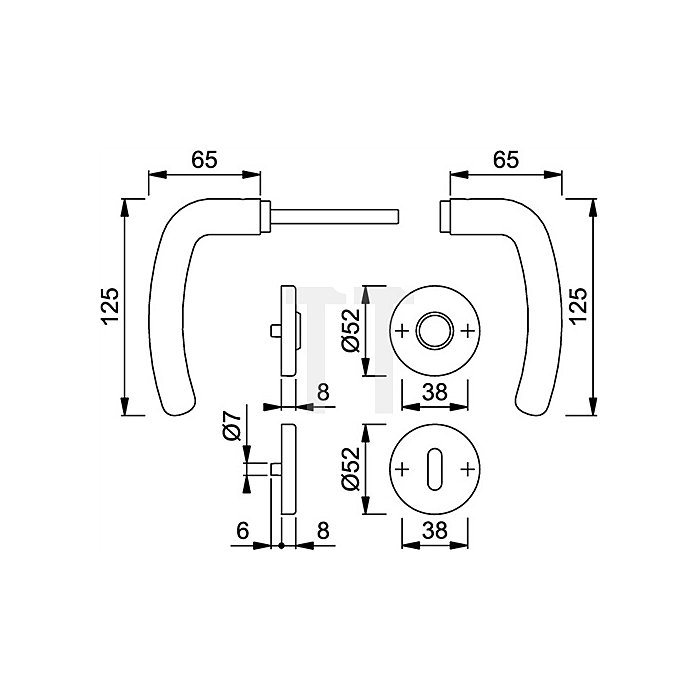 Hoppe Rosetten-Drückergrt. Denver E1310Z/42KV/42KVS DIN EN 1906 Bad SK/OL VK 8mm VA
