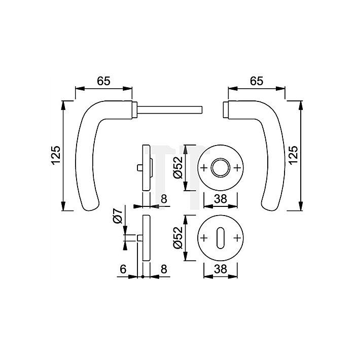 Hoppe Rosetten-Drückergrt. Denver E1310Z/42KV/42KVS DIN EN 1906 PZ VK 8mm VA F69 SST