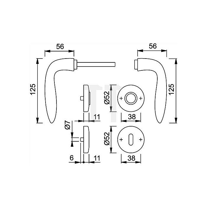 Hoppe Rosetten-Drückergrt. Genova M1535/19KV/19KVS DIN EN 1906 Bad SK/OL VK 8mm Ms.