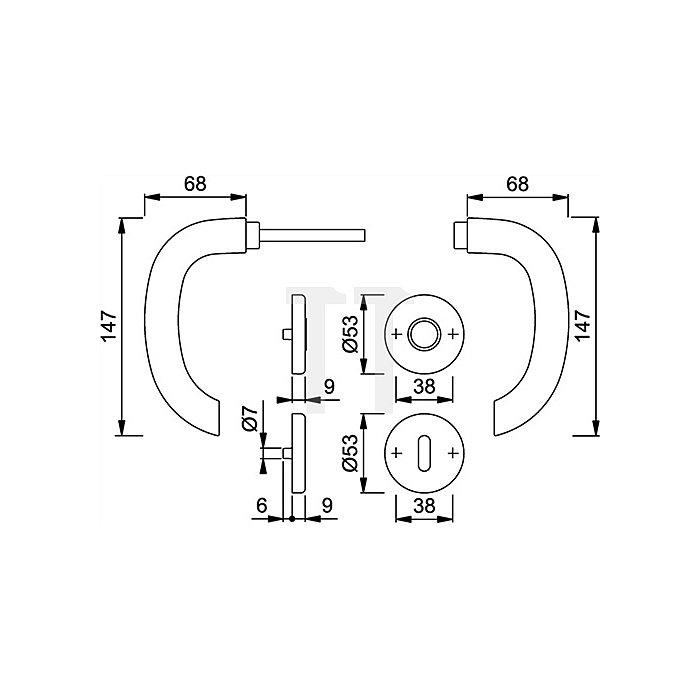 Hoppe Rosetten-Drückergrt. Marseille E1138Z/42KV/42KVS DIN EN 1906 PZ VK 8mm VA F69