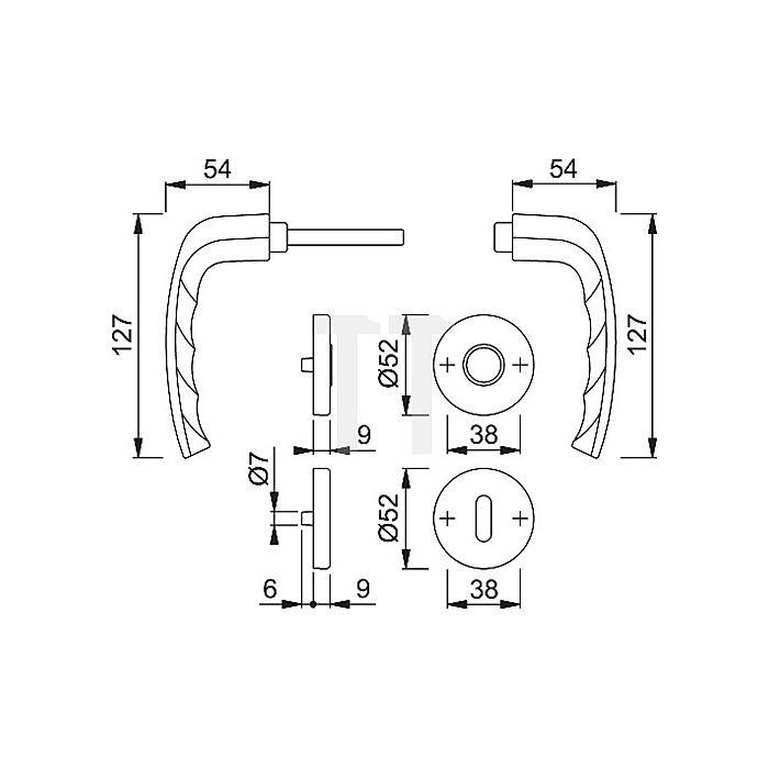 Hoppe Rosetten-Drückergrt. New York 1810/42KV/42KVS Lochung PZ Entf. 72mm Alu. F1