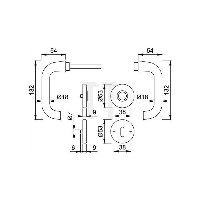 Hoppe Rosetten-Drückergrt. Paris 138L/42KV/42KVS OB VK 8mm Alu F1 SST mit Rückholfeder