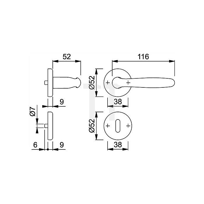 Hoppe Rosetten-Drückergrt. Roissy M1941/17KV/17KVS OB VK 8mm Messing F41