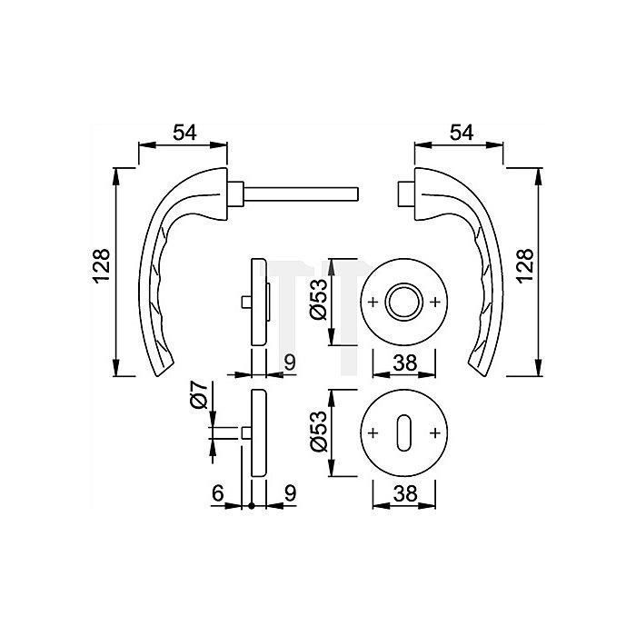 Hoppe Rosetten-Drückergrt. Tokyo 1710/42KV/42KVS DIN EN 1906 Bad SK/OL VK 8mm Alu F1