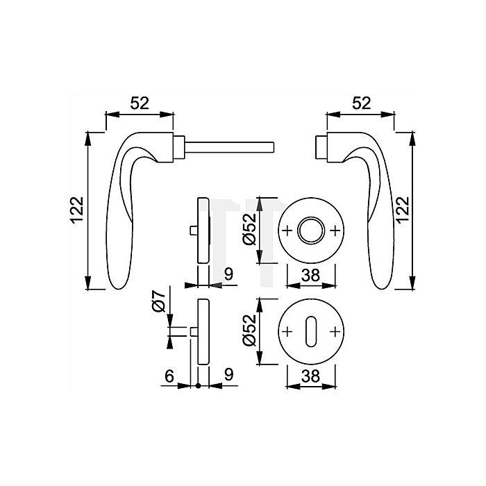 Hoppe Rosetten-Drückergrt. Verona M151/42KV/42KVS DIN EN 1906 OB VK 8mm Ms. F98-R SST