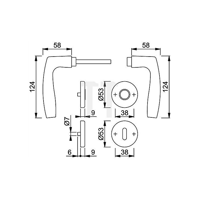 Hoppe Rosetten-Drückergrt. Vitoria 1515/42KV/42KVS DIN EN 1906 PZ VK 8mm Alu F1 SST