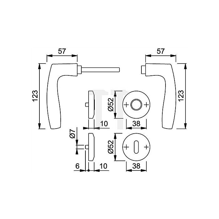 Hoppe Rosetten-Drückergrt. Vitoria M1515/23KV/23KVS DIN EN 1906 SK/OL VK 8mm Ms. F41